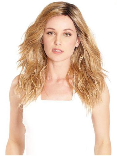Long High Quality Blonde Synthetic Without Bangs Lace Front Wigs