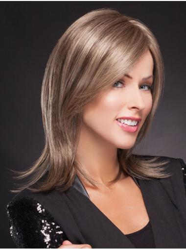 "Layered 14"" Shoulder Length Straight Exquisite Medium Wigs"