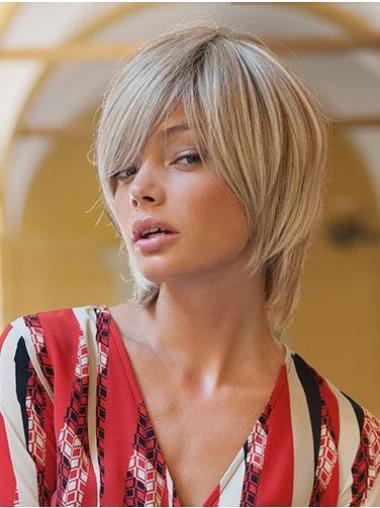 Layered Chin Length Monofilament Straight Blonde Human Hair Wigs