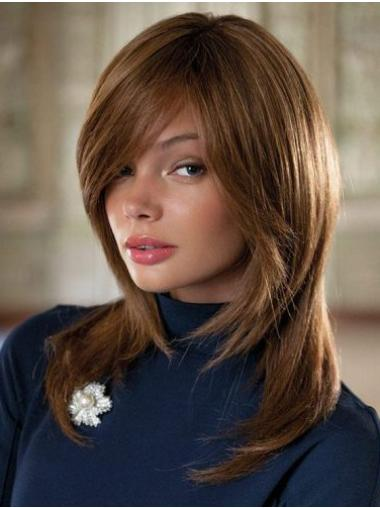 Straight Brown With Bangs Remy Human Hair Fully Hand Tied Wig