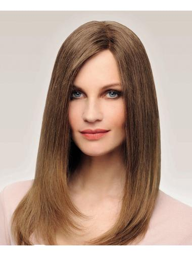 100% Hand-tied Brown Remy Human Hair Without Bangs Straight Cheap Long Wigs