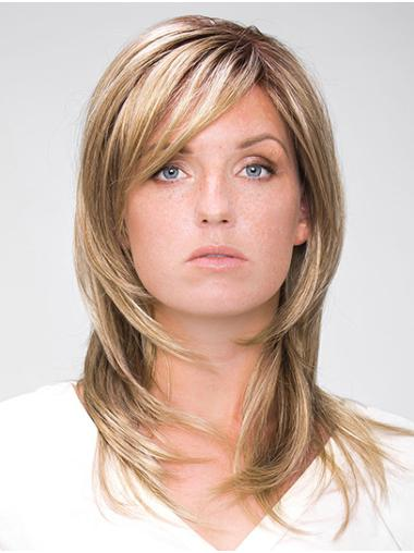 """Shoulder Length Blonde 14"""" Straight With Bangs Handmade Wigs"""