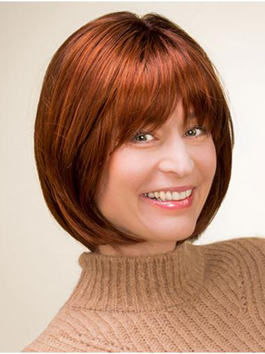 Copper Chin Length 100% Hand-tied Straight Synthetic Bob Wigs For Sale