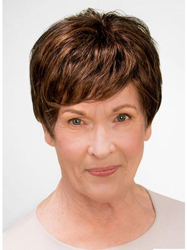 """100% Hand-tied Short 8"""" Brown Boycuts Good Synthetic Wigs"""