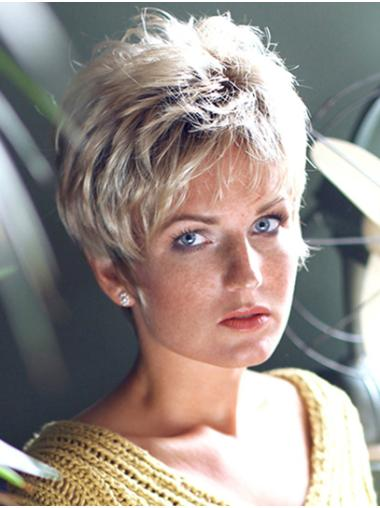 """8"""" Wavy Platinum Blonde Capless Layered Short Wigs For Lady"""