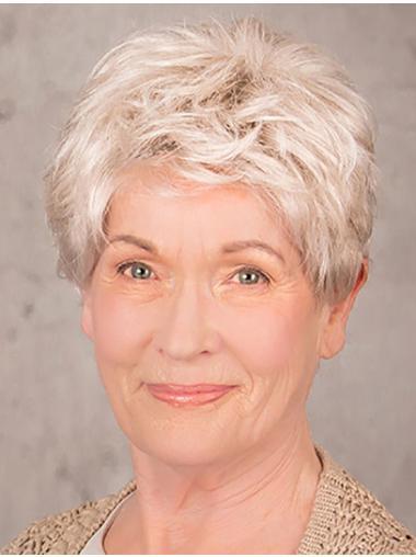 """8"""" 100% Hand-tied Short Grey Layered Elderly Women Wig On Sale"""