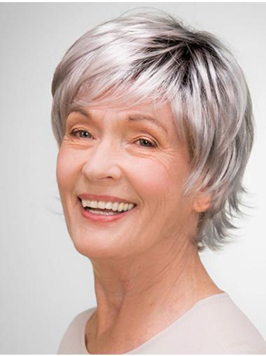 "8"" 100% Hand-tied Short Grey Layered Elderly Women Wigs"