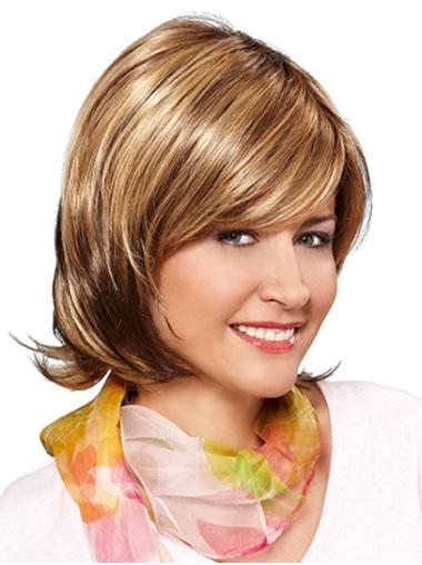 Blonde Chin Length Monofilament Wavy Synthetic Bob Cut Wigs