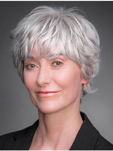 """8"""" 100% Hand-tied Short Grey Layered Cheap Wigs For Elderly Lady"""