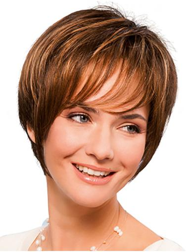 "Short Copper 8"" Straight With Bangs Hand Tied Wigs"