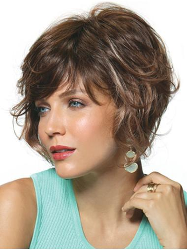 "Synthetic Curly 10"" Brown Bobs The Best Monofilament Wigs"