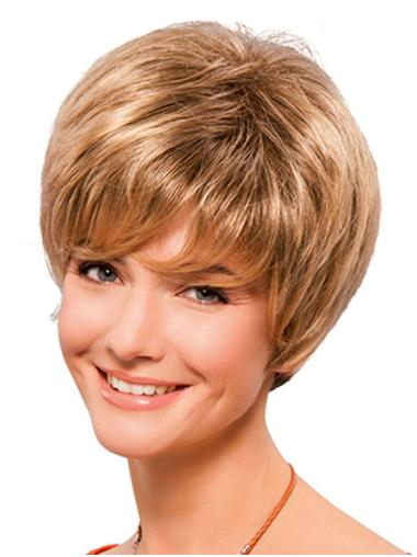 Blonde Short Lace Front Straight Synthetic Cheap Classic Wigs