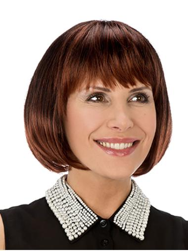 """Synthetic Straight 10"""" Copper Bobs Monofilament Wigs For Women"""