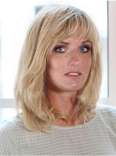 "100% Hand-tied 12"" Shoulder Length Wavy Platinum Blonde Human Hair Wigs Cheap"