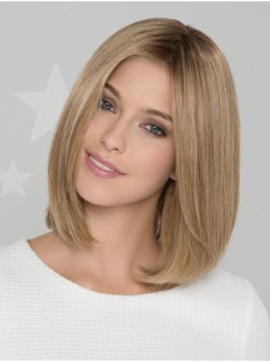 """Remy Human Hair Straight 12"""" Blonde Bobs Good Monofilament Wigs"""