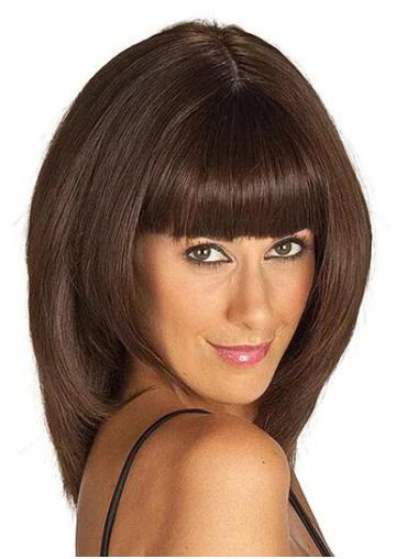 """Shoulder Length 14"""" With Bangs Brown Straight Women Lace Front Wigs"""