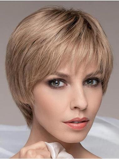 """Cropped 6"""" Boycuts Blonde Straight Lace Front Wigs"""