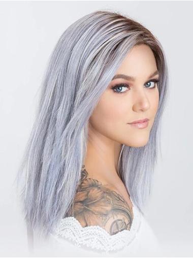 "Monofilament 14"" Shoulder Length Straight Grey Women Grey Wig"