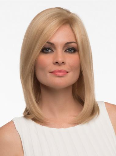 Blonde Straight Monofilament Real Hair Wigs