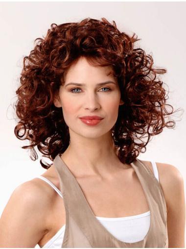 "Layered Auburn Curly 12"" Human Hair Wigs"