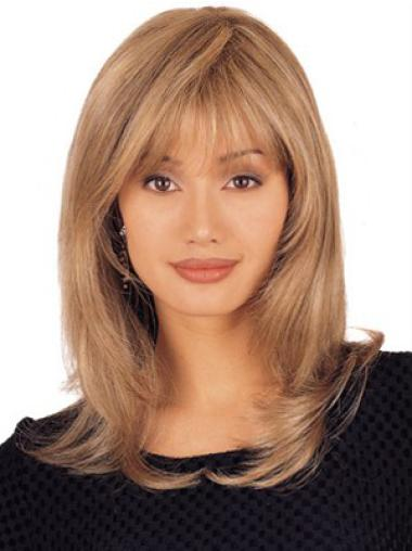 Shoulder Length Blonde Remy Human Hair Wigs