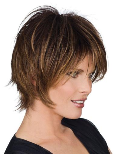 Short Brown Straight Human Hair Wigs