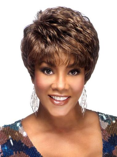 Cropped Brown African American Wigs