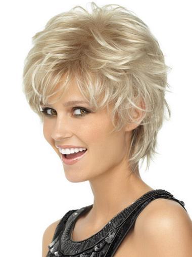 Sleek Blonde Wavy Synthetic Short Wigs